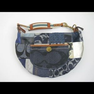 Coach Blue Denim Patchwork Hobo Purse Leather